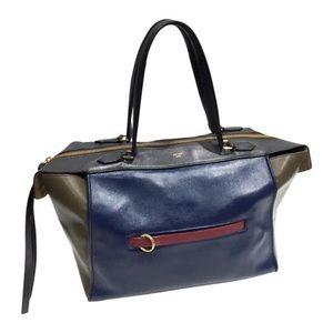 Celine tricolor leather ring tote bag blue green